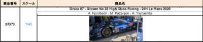 【2021年5月発売予定ご予約商品】スパーク S7973 1/43 オレカ 07-Gibson  High Class Racing 2020年ルマン24時間レース No.33 A.フィヨルドバッハ-M.パターソン-山下健太 予価:税込¥8250