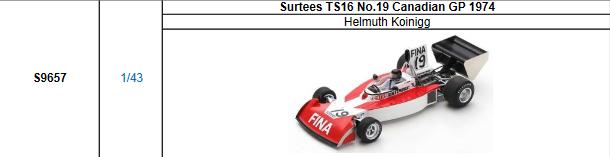 【2021年7月発売予定ご予約商品4/21締切】S9657 1/43 サーティース TS16 H.コイニグ 1974年イタリアGP No.19