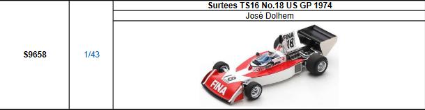 【2021年9月発売予定ご予約商品4/21締切】S9658 1/43 サーティース TS16 J.ドラン 1974年USGP No.18
