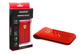 """フェラーリ スリム型 2ポートリチウムバッテリー2500mAh """"FERRARI EMERGENCY BATTERY Red"""""""
