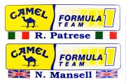 CAMEL(キャメル)  フォーミュラ F1 1990年代初頭 パトレーゼ&マンセル プロモーションステッカー2枚セット