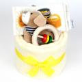 ファーストケーキ 出産祝い ワンちゃんの布絵本とラトルケーキ