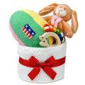 ファーストケーキ 出産祝い 大きな布のボールと木のおもちゃのケーキ