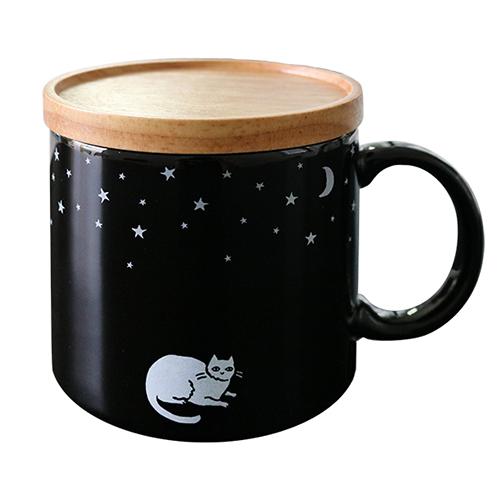 真夜中の雑貨店 フタ付きマグカップ<ネコ>MZ-033