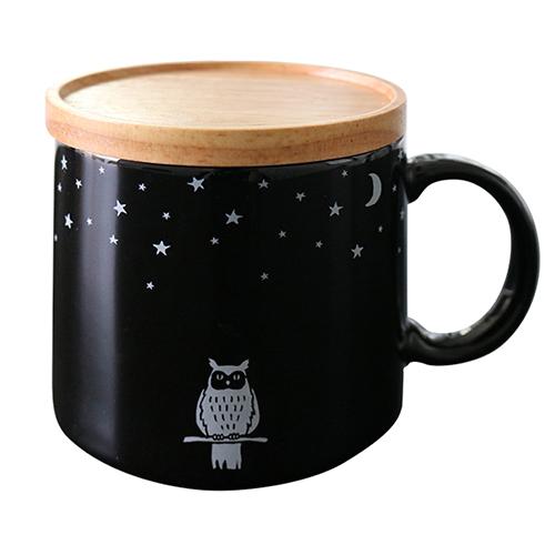 真夜中の雑貨店 フタ付きマグカップ<フクロウ>MZ-036
