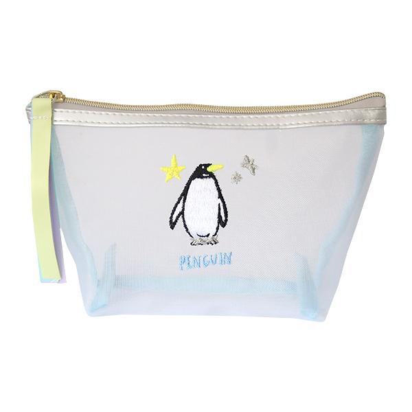 Animal Series マチ付きメッシュポーチ<ペンギン> GF-457