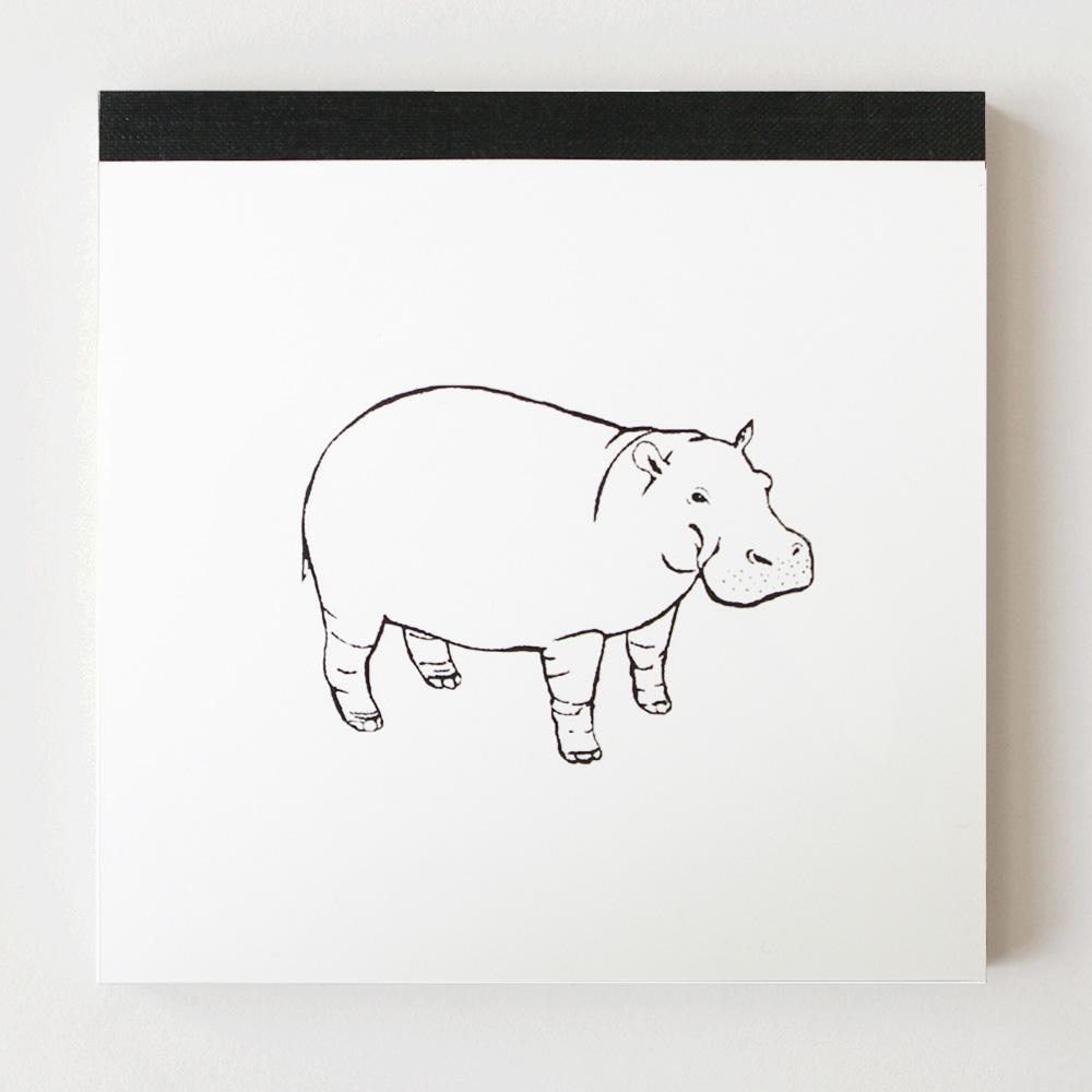 Animal Series メモパッド・スクエア<カバ>