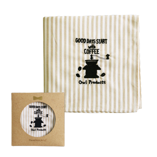 Owl products ハンカチ<coffee>