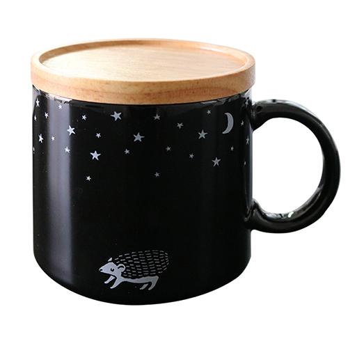 真夜中の雑貨店 フタ付きマグカップ<ハリネズミ>MZ-034