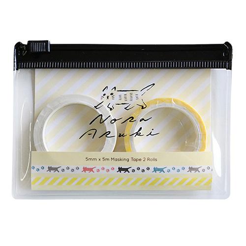 のらあるき ケース付きマスキングテープセット<Ivory>NO-013