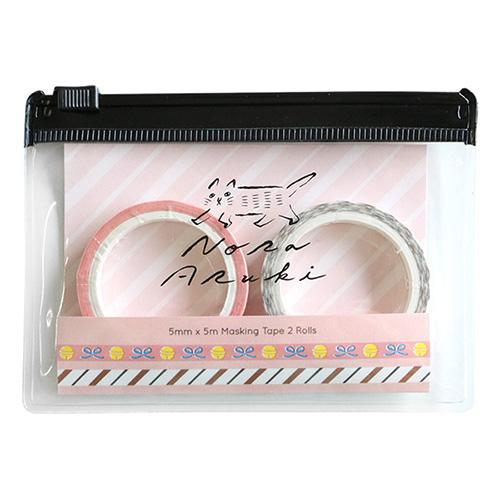 のらあるき ケース付きマスキングテープセット<Pink>NO-014