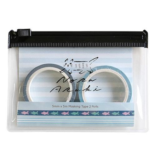 のらあるき ケース付きマスキングテープセット<Blue>NO-015