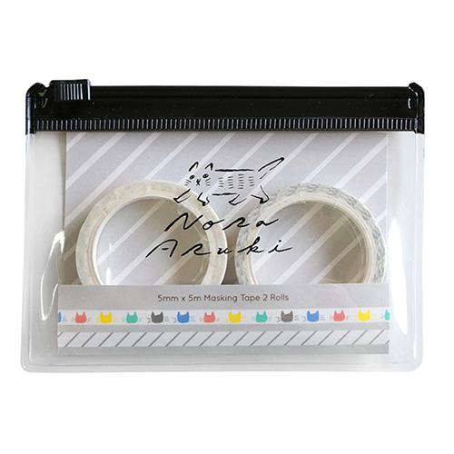 のらあるき ケース付きマスキングテープセット<Gray>NO-016