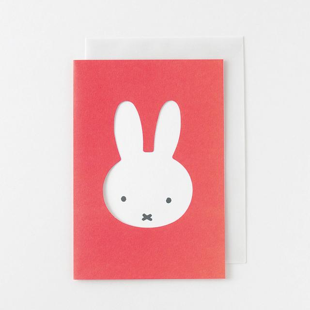 miffy グリーティングカード<face/red> BM-013
