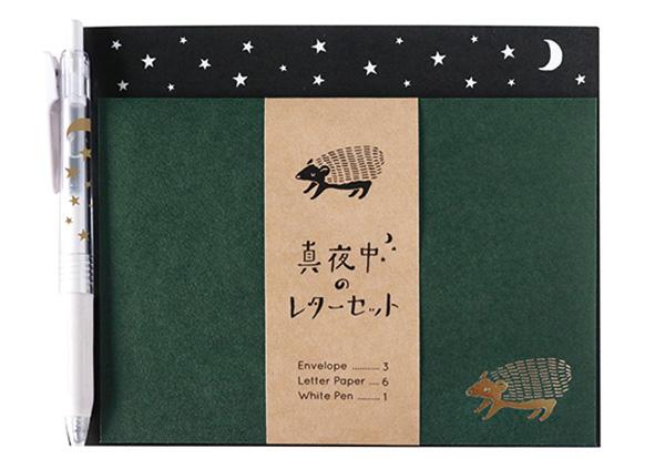 真夜中の雑貨店 ペン付きレターセット<ハリネズミ>MZ-010