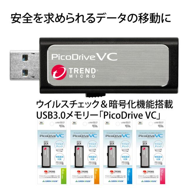 【5年サポート版】ウイルスチェック&暗号化機能搭載 USB3.0メモリー「PicoDrive VC」 GH-UF3VCシリーズ