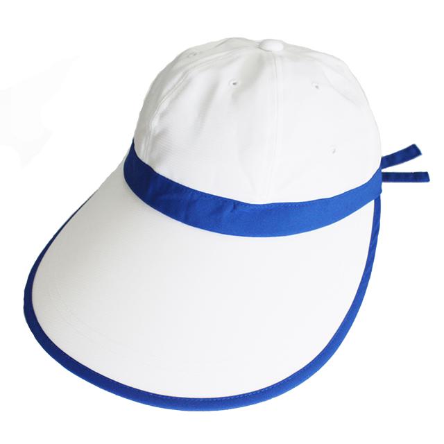キャディ帽子 (白×青)