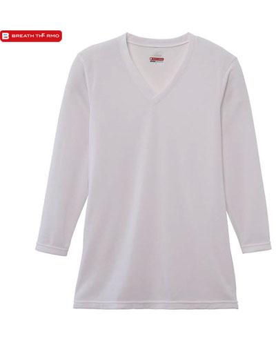 MIZUNO 【デイリー用 中厚】 男性用 ブレスサーモ エブリプラス・Vネック長袖シャツ (オフホワイト)