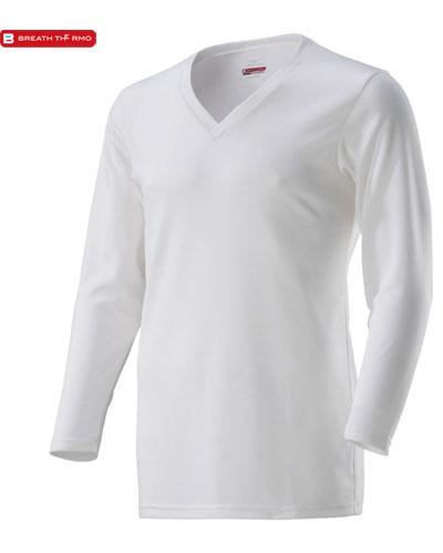 MIZUNO 【デイリー用 薄手】 男性用 ブレスサーモ アンダーウェア・Vネック長袖シャツ (オフホワイト)