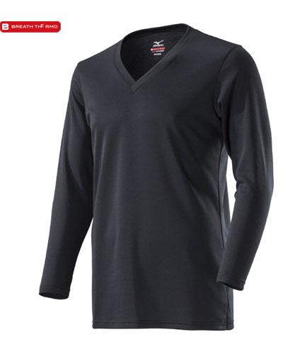MIZUNO 【デイリー用 薄手】 男性用 ブレスサーモ アンダーウェア・Vネック長袖シャツ (ブラック)