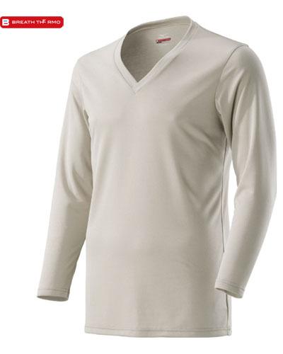 MIZUNO 【デイリー用 薄手】 男性用 ブレスサーモ アンダーウェア・Vネック長袖シャツ (グレージュ)