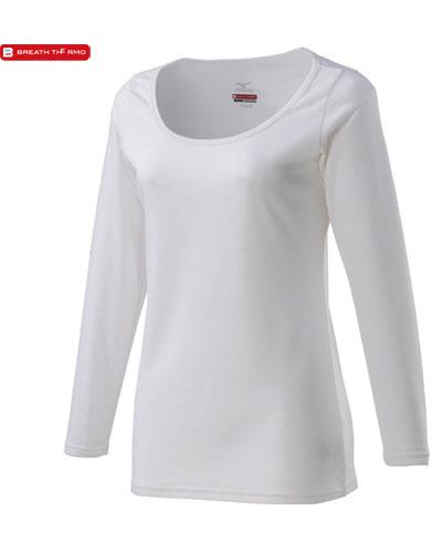 MIZUNO 【デイリー用 薄手】 女性用 ブレスサーモ アンダーウェア・ラウンドネック長袖シャツ (オフホワイト)