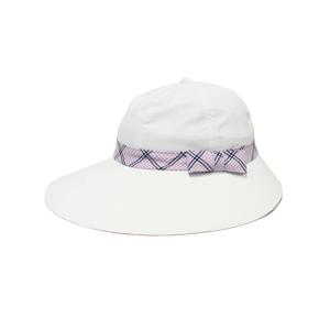 キャディ帽子 (白×ピンク柄)