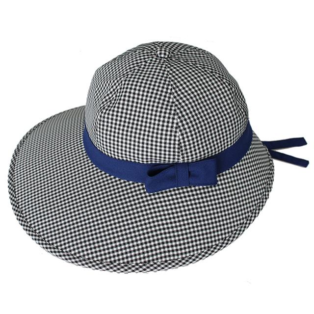 キャディ帽子 (チェック×紺)
