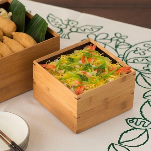 竹の重箱 5寸角 二段重