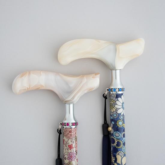 女性用 長さ調節式折りたたみステッキ花柄