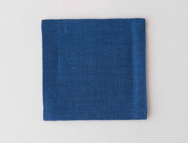 リネンのコースター ブルー