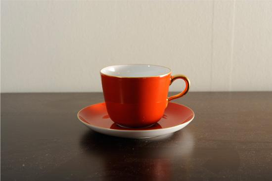 大倉陶園モーニングカップ 蒔絵レッド