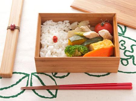 竹のお弁当箱 赤
