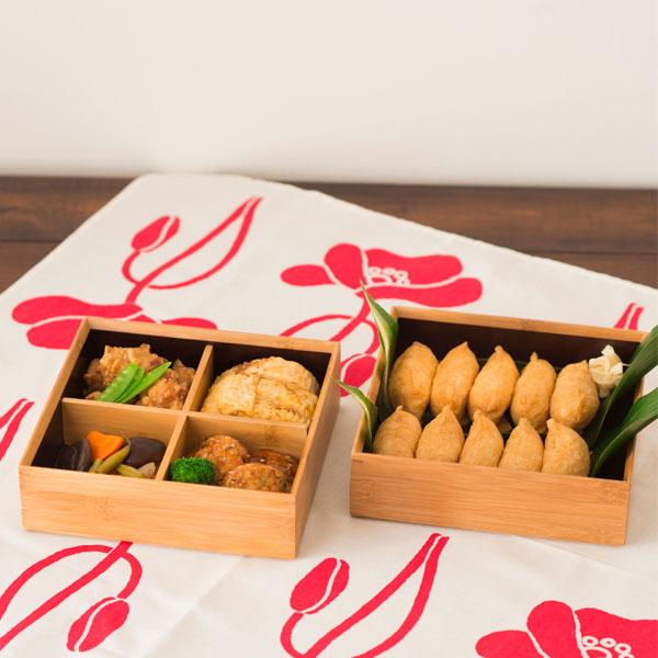 竹の重箱 6.5寸角 二段重