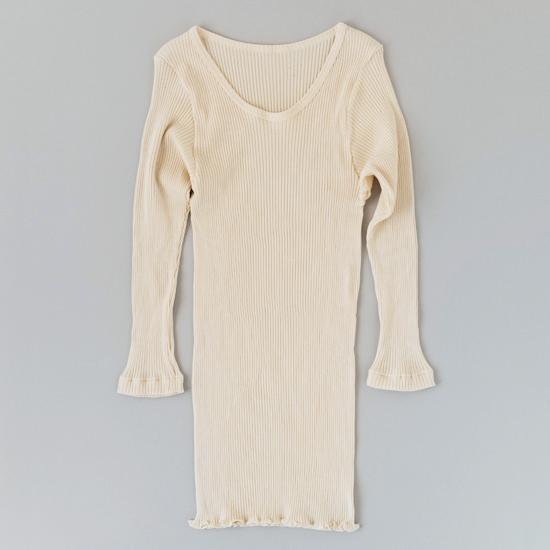 スーピマリブの肌着 八分袖シャツ