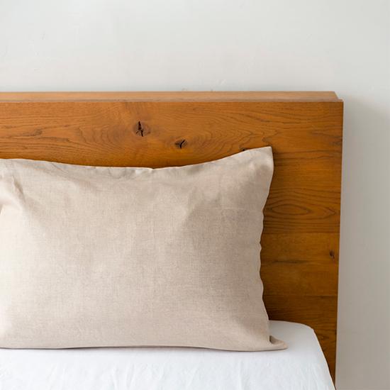 リネンの寝具 枕カバー封筒式 生成