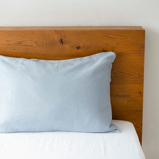 リネンの寝具 枕カバー封筒式  ブルー
