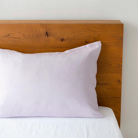 リネンの寝具 枕カバー封筒式  ラベンダー