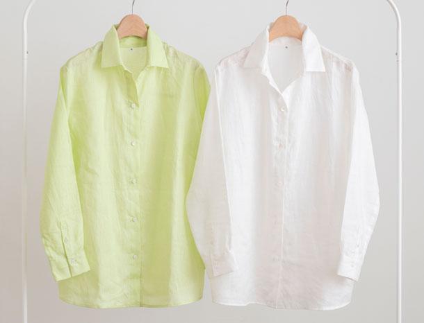 ロング丈のリネンシャツ 白・ライムグリーン