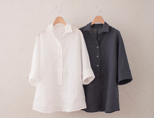 五分袖のリネンシャツ 2種
