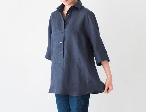 五分袖のリネンシャツ ネイビーグレー