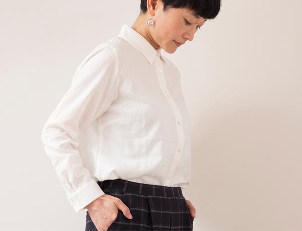 二重ガーゼのシャツ ホワイト Lサイズ
