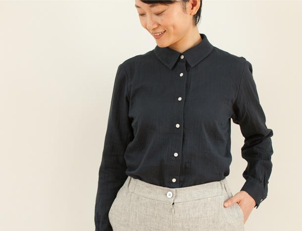 二重ガーゼのシャツ ネイビー Mサイズ
