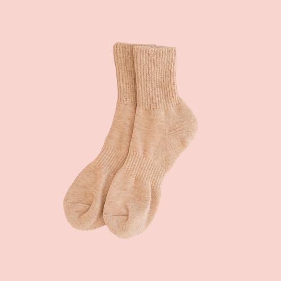 キャメルとシルクの冷えとり靴下
