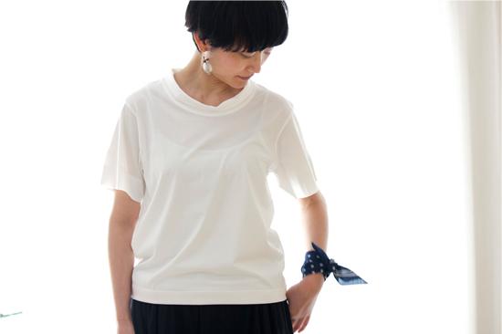 ロールカラーTシャツ  ホワイト