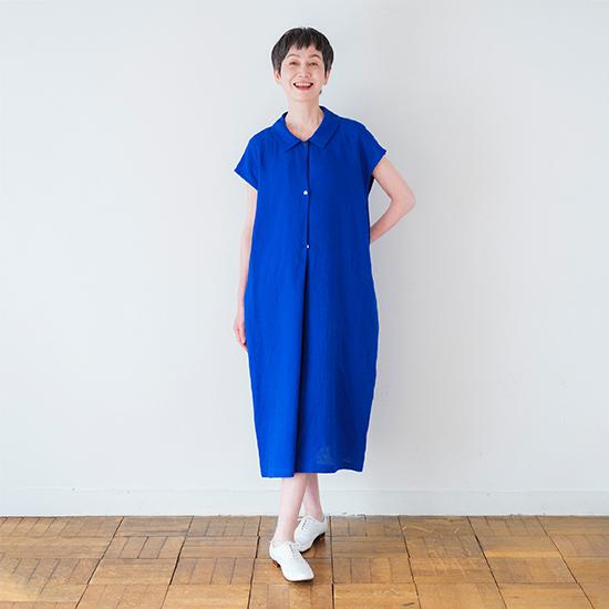 リネンダブルドレス ブルー