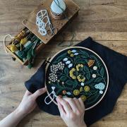 ウールステッチの花刺繍キット 黄色い野花