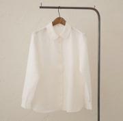 ギンガム白黒リネンシャツ