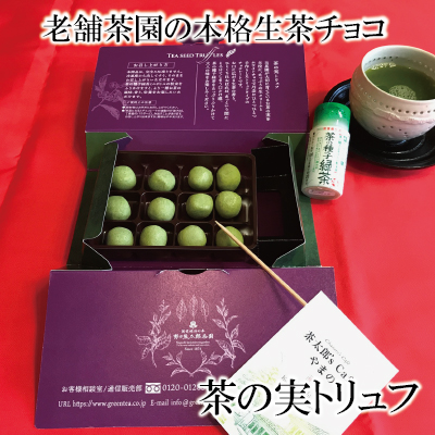 濃厚くちどけ生茶チョコ 茶の実トリュフ 茶の種子緑茶ミニボトル付き【11月~4月限定】