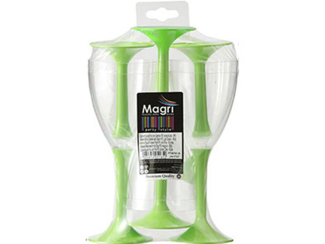 プラスチック ワイングラス グリーン 6個セット